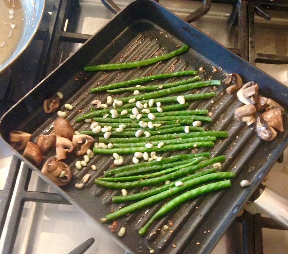 Green Beans: Twice Cooked with Hot & Sweet Sauce and Marinated Mushrooms
